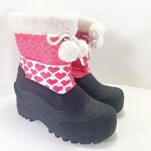 Itasca Snow Kicker Boots Pink Hearts Fur Trim